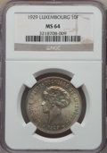 Luxembourg, Luxembourg: Charlotte 10 Francs 1929 MS64 NGC,...