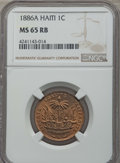 Haiti, Haiti: Republic Centime 1886-A MS65 Red and Brown NGC,...