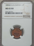 German New Guinea, German New Guinea: German Colony Pfennig 1894-A MS65 Red and BrownNGC,...