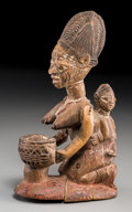 Tribal Art, Yoruba Maternity Figure (Nigeria): Classic Presentation Bowl inForm of Kneeling Female with Baby on Her Back...