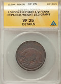 Colonials, (1694) MS Elephant Token, Hodder 2-B, W-12040, R.2 -- Repaired -- ANACS. VF25 Details. 15.3 grams. PCGS ...