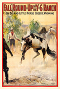 "Movie Posters:Western, Fall Round-Up on the Y-6 Ranch (Cheyenne Feature Film Co., 1911).One Sheet (28"" X 41.25"").. ..."