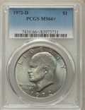 Eisenhower Dollars, 1972-D $1 MS66+ PCGS. PCGS Population: (526/18). NGC Census: (367/6). Mintage 92,548,512....