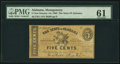Obsoletes By State:Alabama, Montgomery, AL - State of Alabama 5¢ Jan. 1, 1863 Cr. 11. ...