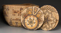 American Indian Art:Baskets, Five Hopi Bundle-Coiled Basketry Items... (Total: 5 Items)