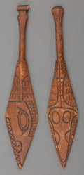 American Indian Art:Wood Sculpture, A Pair of Miniature Northwest Coast Carved Wood Paddles... (Total: 2 Items)