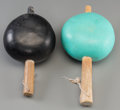 American Indian Art:Wood Sculpture, Two Pueblo Painted Gourd Rattles... (Total: 2 Items)