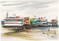 Animation Art:Production Drawing, Retta Scott - Waterfront Painting (c. 1950s-60s)....