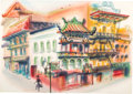 Animation Art:Production Drawing, Retta Scott - Chinese Street Scene Painting (c. 1950s-60s)....