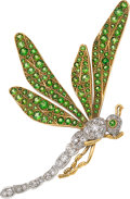 Estate Jewelry:Brooches - Pins, Diamond, Demantoid Garnet, Platinum-Topped Gold, Gold Brooch, circa 1900. ...