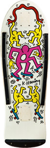 Prints:Contemporary, Keith Haring (1958-1990). White/Pink/Yellow. Screenprint onskate deck. 29-1/2 x 10 inches (74.9 x 25.4 cm). Stamped wit...