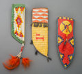 American Indian Art:Beadwork and Quillwork, Three Contemporary Quilled Hide Knife Sheaths... (Total: 3 Items)