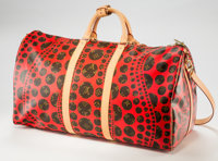 Yayoi Kusama (b. 1929) Louis Vuitton Limited Edition Red Dot Monogram Canvas Infinity Dots Keepall 55