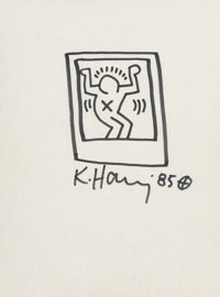 Keith Haring (1958-1990) Untitled (Figure in a box), 1985 Marker on paper 12 x 8-7/8 inches (30.5