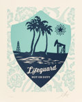 Prints:Contemporary, Shepard Fairey (b. 1970). Lifeguard Not on Duty Letterpress,2016. Letterpress in colors. 16-3/4 x 13-3/4 inches (42.5 x...