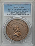 (1844) Medal Henry Clay - W.H. Harrison Campaign MS64 Brown PCGS. Mule, Obverses of DeWitt-WHH-1840-7 and DeWitt-HC-1844...