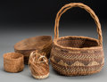 American Indian Art:Baskets, Four Northern California/ Northwest Coast Twined Basketry Items...(Total: 4 Items)