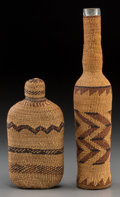 American Indian Art:Baskets, Two Northern California Twined Basketry Bottles... (Total: 2 Items)