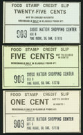 Miscellaneous:Other, Pine Ridge, SD- Sioux Nation Shopping Center 1¢; 5¢; 25¢ Food StampCredit Slips ND. ... (Total: 3 items)