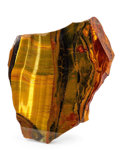 Lapidary Art:Carvings, Tiger's Eye Slab. South Africa. 6.69 x 6.30 x 0.59 inches (17.00x 16.00 x 1.49 cm). ...