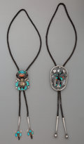 American Indian Art:Jewelry and Silverwork, Two Zuni Silver, Stone and Shell Bolo Ties. c. 1950... (Total: 2Items)