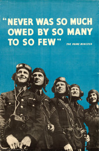 "World War II Propaganda (H.M. Stationary Office, 1940s). British Poster (19.5"" X 29.75"") ""Never Was So Mu..."