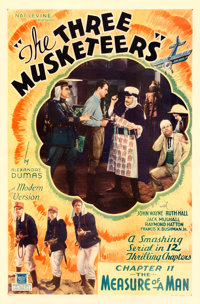 """The Three Musketeers (Mascot, 1933). One Sheet (27"""" X 41"""") Chapter 11-- """"The Measure of a Man."""""""