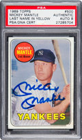 Baseball Cards:Singles (1960-1969), Signed 1969 Topps Mickey Mantle #500 PSA/DNA NM-MT 8. ...