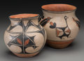 American Indian Art:Pottery, Two Santo Domingo Polychrome Jars . c. 1930 ... (Total: 2 Items)