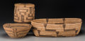 American Indian Art:Baskets, Three Pima/Papago Coiled Basketry Items... (Total: 3 )