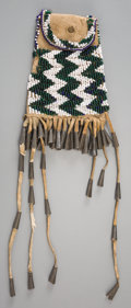 American Indian Art:Beadwork and Quillwork, An Apache Beaded Hide Strike-A-Light Pouch . c. 1885...