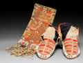 American Indian Art:Beadwork and Quillwork, A Pair of Sioux Quilled and Beaded Hide Moccasins and Pouch . c.1890... (Total: 3 Items)