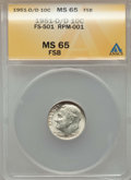 Roosevelt Dimes, 1951-D/D 10C Repunched Mintmark, FS-501, MS65 Full Bands ANACS. RPM-1. NGC Census: (0). PCGS Population: (8/12). Mintage 5...