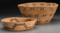 American Indian Art:Baskets, Two Yokuts Coiled Bowls Diameters: 10 ½ and 1...