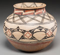 American Indian Art:Pottery, A Tesuque Polychrome Jar . c. 1890...