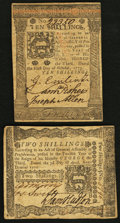 Colonial Notes:Pennsylvania, Pennsylvania April 3, 1772 2s Very Fine;. Pennsylvania October 5,1773 10s Extremely Fine.. ... (Total: 2 notes)