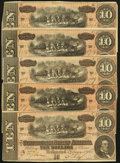 Confederate Notes:1864 Issues, T68 $10(5) 1864 PF-20 Cr. 546.. ... (Total: 5 notes)