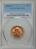 Lincoln Cents: , 1954-S 1C MS67 Red PCGS. PCGS Population: (278/0). NGC Census: (784/0). Mintage 96,190,000. ...