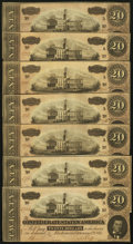 Confederate Notes:1864 Issues, T67 $20(7) 1864 PF-3 Cr. 505.. ... (Total: 7 notes)