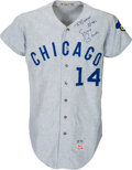 Baseball Collectibles:Uniforms, 1970 Ernie Banks Game Worn Chicago Cubs Jersey, MEARS A10....