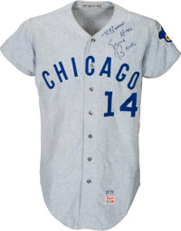 1970 Ernie Banks Game Worn Chicago Cubs Jersey, MEARS A10