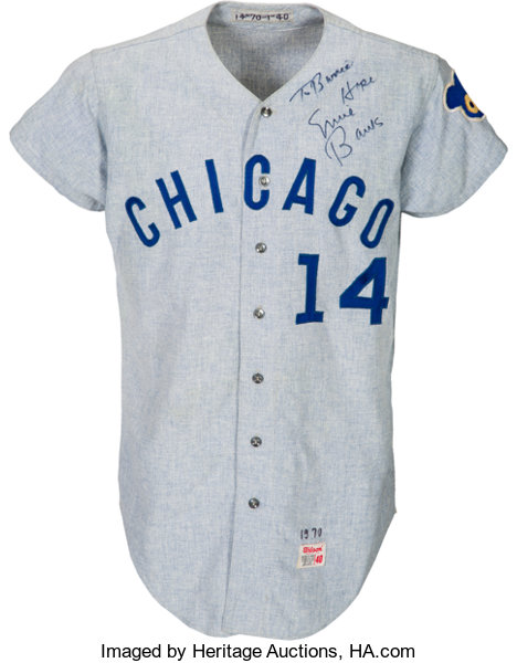 official photos 032a1 643e6 1970 Ernie Banks Game Worn Chicago Cubs Jersey, MEARS A10 ...