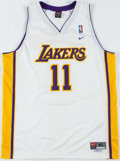 Basketball Collectibles:Others, Karl Malone Signed Los Angeles Lakers Jersey. ...