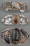 American Indian Art:Jewelry and Silverwork, Three Navajo Silver and Stone Bracelets. c. 1980... (Total: 3 Items)