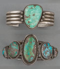 American Indian Art:Jewelry and Silverwork, Two Navajo Silver and Turquoise Bracelets. c. 1960 and 1980...(Total: 2 Items)