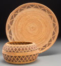 American Indian Art:Baskets, Two Yokuts Polychrome Coiled Items . c. 1920... (Total: 2 Items)