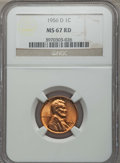 Lincoln Cents: , 1956-D 1C MS67 Red NGC. NGC Census: (103/0). PCGS Population: (72/0). Mintage 1,098,201,088. ...