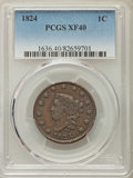 Large Cents: , 1824 1C XF40 PCGS. PCGS Population: (17/87). NGC Census: (10/36). CDN: $450 Whsle. Bid for problem-free NGC/PCGS XF40. Mint...