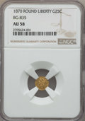 California Fractional Gold , 1870 25C Liberty Round 25 Cents, BG-835, R.3, AU58 NGC. NGC Census:(16/35). PCGS Population: (49/140)....