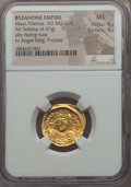 Ancients:Byzantine, Ancients: Maurice Tiberius (582-602). AV solidus (4.47 gm). NGC MS4/5 - 4/5....